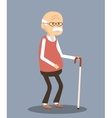 Old Man with Cane vector image