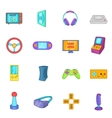 Video game icons set cartoon style vector image
