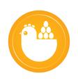 hen and eggs emblem vector image