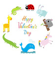 Happy Valentines Day Love card Cute animal frame vector image