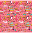 Birthday background on pink vector image