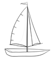 sailing boat contours vector image