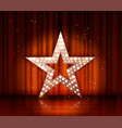 star retro light banner on the red curtains vector image