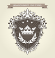 Coat of arms - medieval heraldry shield and crown vector image