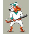 Dog the baseball player vector image vector image
