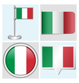 Italy flag - sticker button label flagstaff vector image