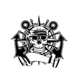 Anchor steering whell and skull vector image