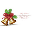 merry christmas card with jingle bell isolated on vector image