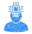 Neuro interface grunge icon vector image