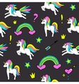 Seamless pattern with unicorns rainbow heart vector image