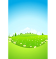 Landscape with Green Trees and Fields vector image