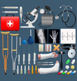 Big medical objects set realistic tools and vector image
