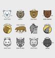 Bear and wolf head animal badge vector image
