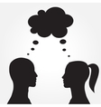 Man and woman with speech bubble vector image vector image