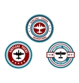 Circular badges for airplane tours vector image vector image