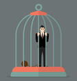 Businessman with weight in bird cage vector image