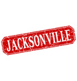 Jacksonville red square grunge retro style sign vector image