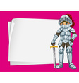 Paper design with knight in silver outfit vector image