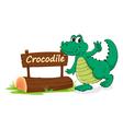 Cartoon zoo crocodile sign vector image