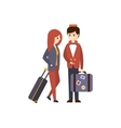 Bellhop Helping A Female Guest With Luggage Hotel vector image
