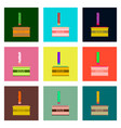 set pixel icons of french fries and sauce vector image