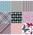 Set seamless vintage colorful patterns vector image