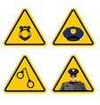 Warning sign police attention Dangers yellow sign vector image