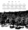 A 2017 calendar with a snow covered pine forest vector image