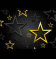 golden and black shiny stars background vector image