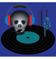 Skull with headphones and vinyl record vector image