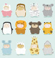 Set of kids in cute animal costumes 2 vector image