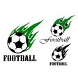 Football sports emblems with flaming ball vector image