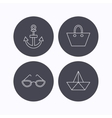 Paper boat anchor and glasses icons vector image