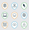 set of 9 internet icons includes website page vector image
