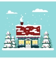 Winter cozy house with fits on blue background vector image