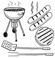 doodle grill cook summer vector image vector image