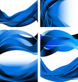 Blue dark waves isolated set on white background vector image