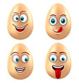 set smiling funny eggs positive emotions vector image