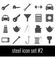 steel icon set 2 gray icons on white background vector image
