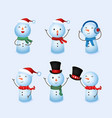 winter holidays cute snowman collection vector image