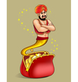 genie appears from wallet with gold dollar vector image vector image