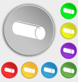 pencil case icon sign Symbol on eight flat buttons vector image