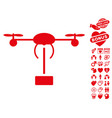 Copter shipment icon with valentine bonus vector image