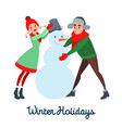 happy couple making snowman winter vacation vector image