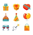 Isolated flat icons set Gift Party Birthday vector image