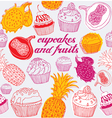 Cupcakes Fruits Pattern vector image vector image