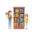 Library Or Bookstore With With Two Girls Choosing vector image