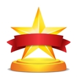 Gold Star Award Red Ribbon With Place For Text vector image