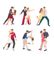 people dancing salsa couples man and woman in vector image