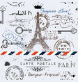 seamless background with flower eiffel tower vector image